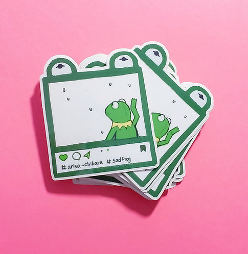 3 inch Clear Sad Frog Stickers