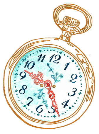 Women know that how they manage their time is directly related to managing their money. Illustration of a clock by Cathy Cummins Barbados