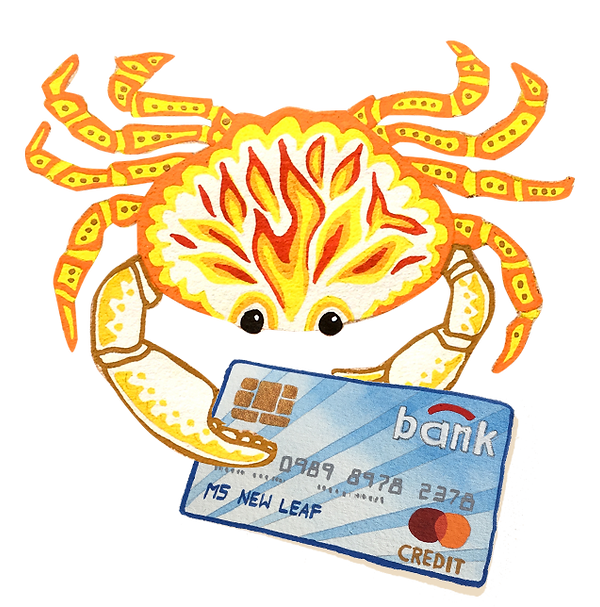 How do I get rid of debt? What debt is ok? Illustration of Debt Crab holding Credit Card by Cathy Cummins Barbados