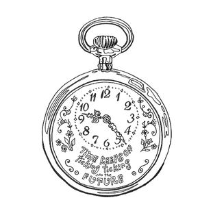 Original Illustration of a Clock reading Time Keeps on Ticking into the Future – for AFIREfi Financial Platform for Women
