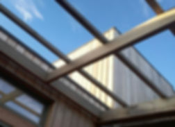Pergola and timber cladding and sky