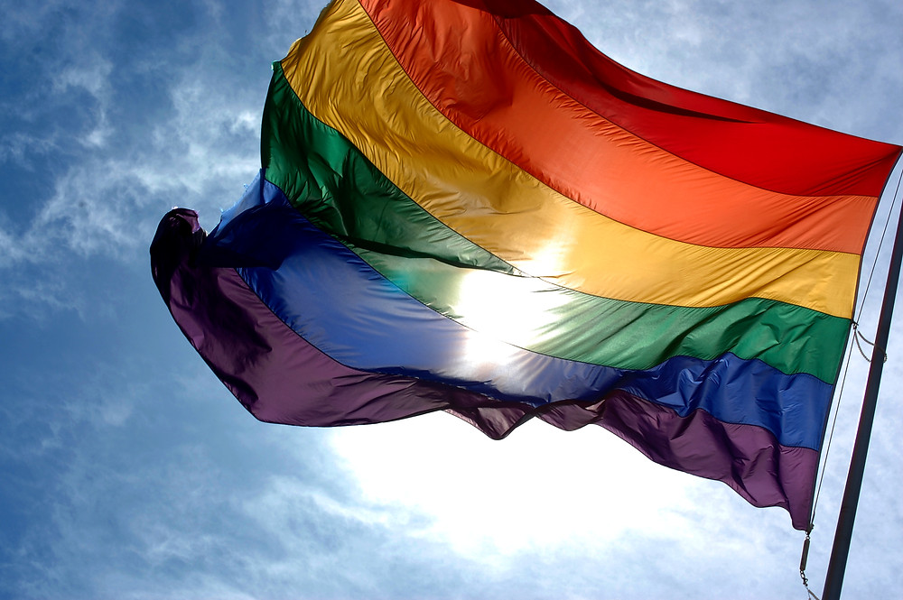 a picture of the LGBTQ+ rainbow flag flying in the sunshine.