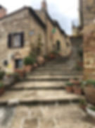 A stairway in Pienza, Italy, on our guided tour of Tuscany