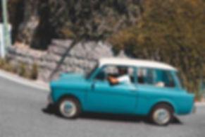 A car going up a hill