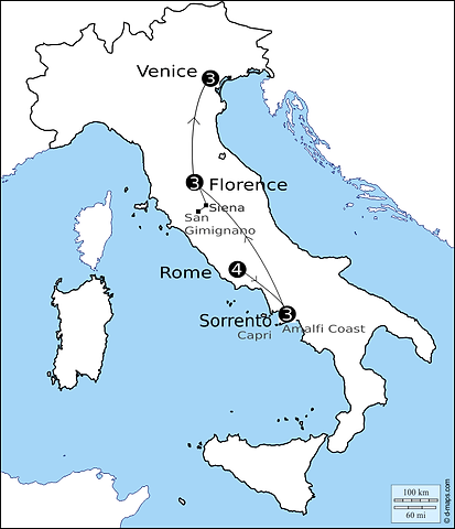 Best of Italy guided tour map