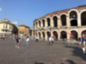 Outsidethe Arena in Verona on an escorted tour of the Veneto region