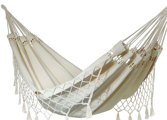Hamac Zen en coton naturel avec des franges décoratives