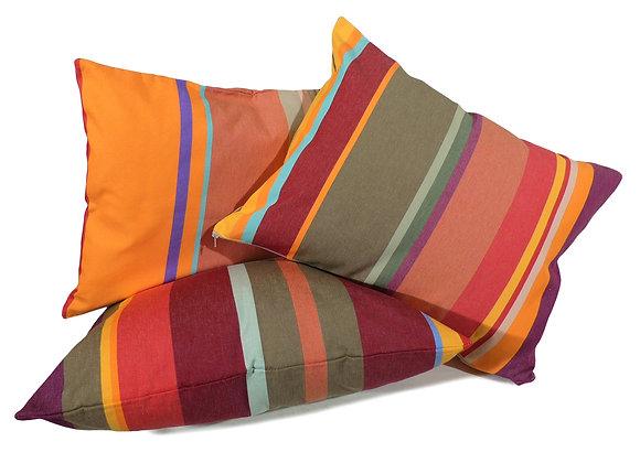 Housses de coussins décoratives de forme rectangulaire en rayures multicolores