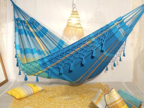 """Hamac XL """"Sea Breeze"""" bleu/turquoise déco"""