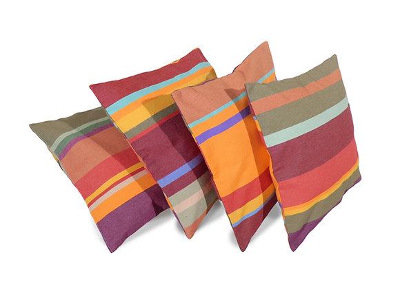 Housses de coussins Collioure en Toiles du Soleil rayures multicolores