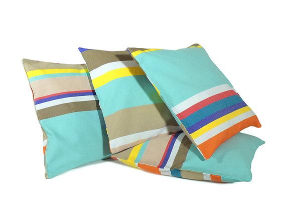 Housses de coussins en Toile du Soleil rayés multicolores turquoise