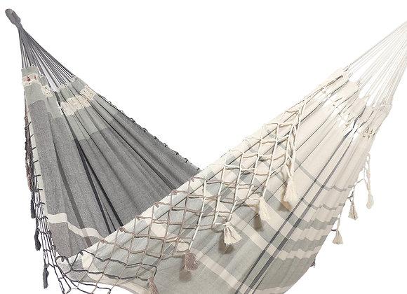 Hamac XL décoratif en nuances de gris tissé main