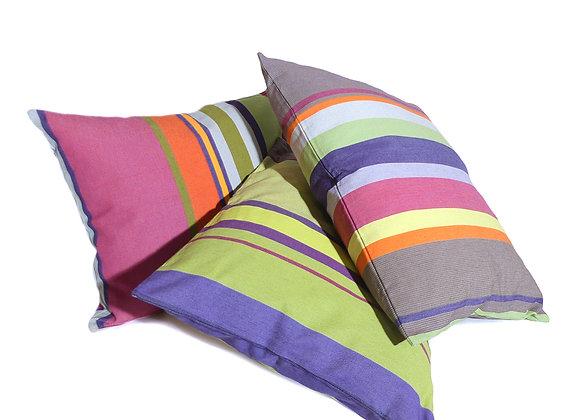 Coussin des Toiles Du Soleil rayé multicolore 100% coton tissage catalan