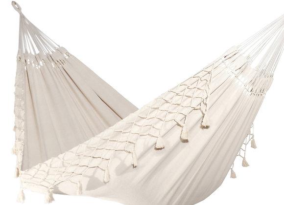 Grand Hamac coton artisanal avec franges décoratives
