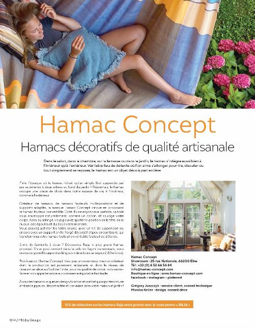 Hamac Concept recommandé pour des hamacs de qualité artisanale par le magasine MAISON & JARDINS
