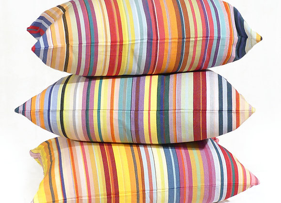 Coussin des Toiles Du Soleil 100% coton tissage catalan, rayé multicolor