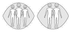 Position de deux ou trois personnes dans un hamac