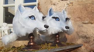 Louves Arctique Sculpture en papier maché Dim : 30*21*34 cm Anne C Creation