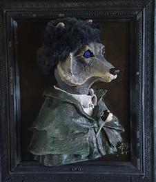 Grand Pere Loup Sortir du Cadre Sculpture Tableau réalisee en papier maché sur commande. Dim : 50*70*35 cm Anne C Creation