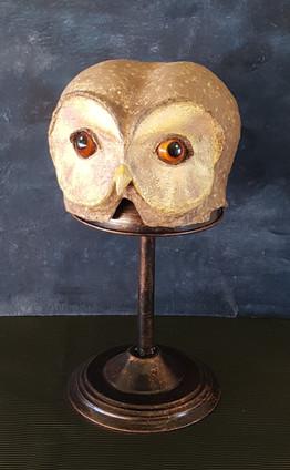 La Chouette Sculpture en papier maché Dim : 17*24*26 cm  Anne C Creation