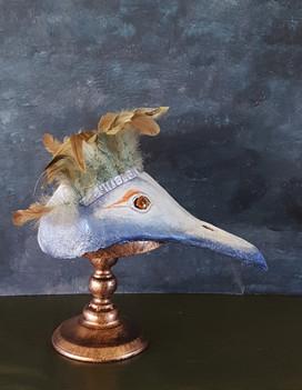 Oiseau des forets Sculpture en papier maché Dim : 23*17*34 cm Anne C Creation