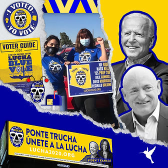 lucha 2020 joe biden and mark kelly, volunteers are holding up a yard sign, billboard that reads ponte trucha unete a la lucha