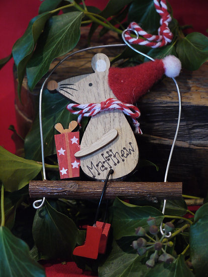 Wooden Mouse on Swing
