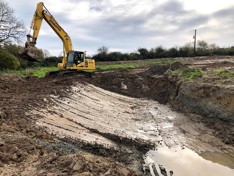 Excavation to rear of Large Wildlife Pond Field 2