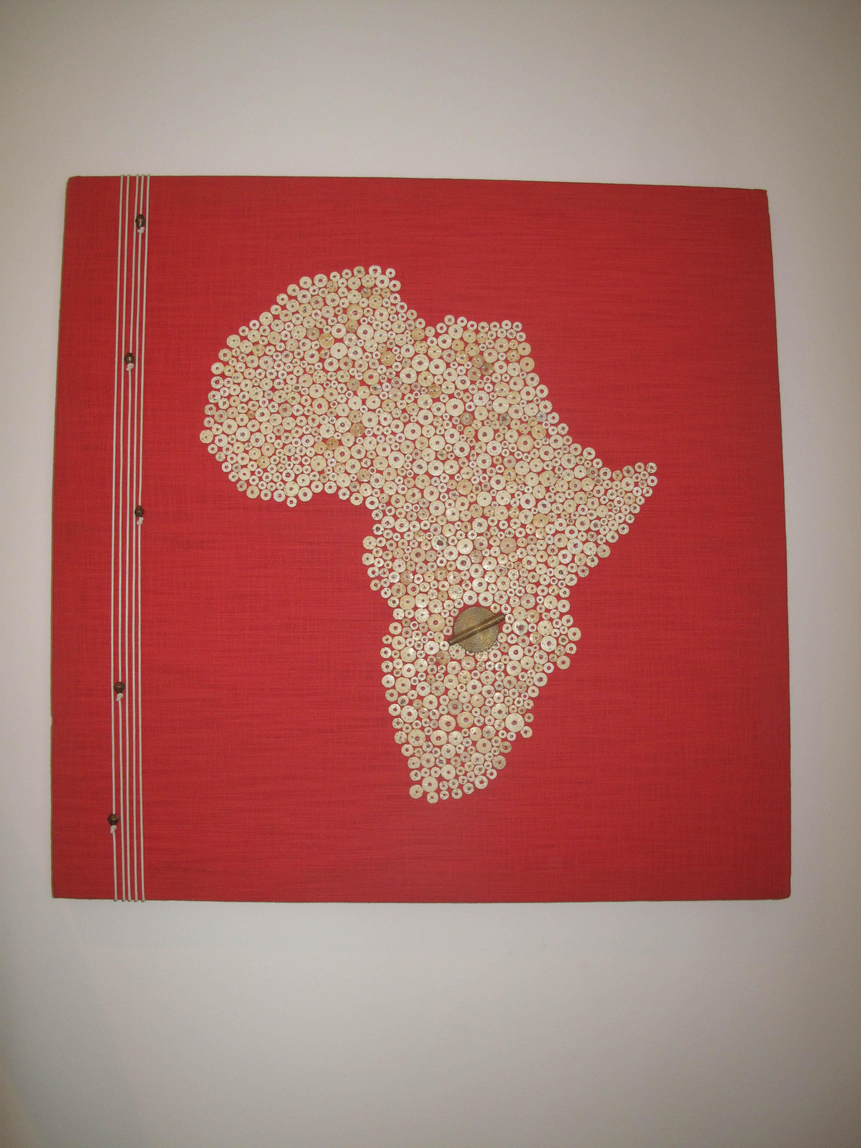 handbeaded wall art ostrich egg shell africa map