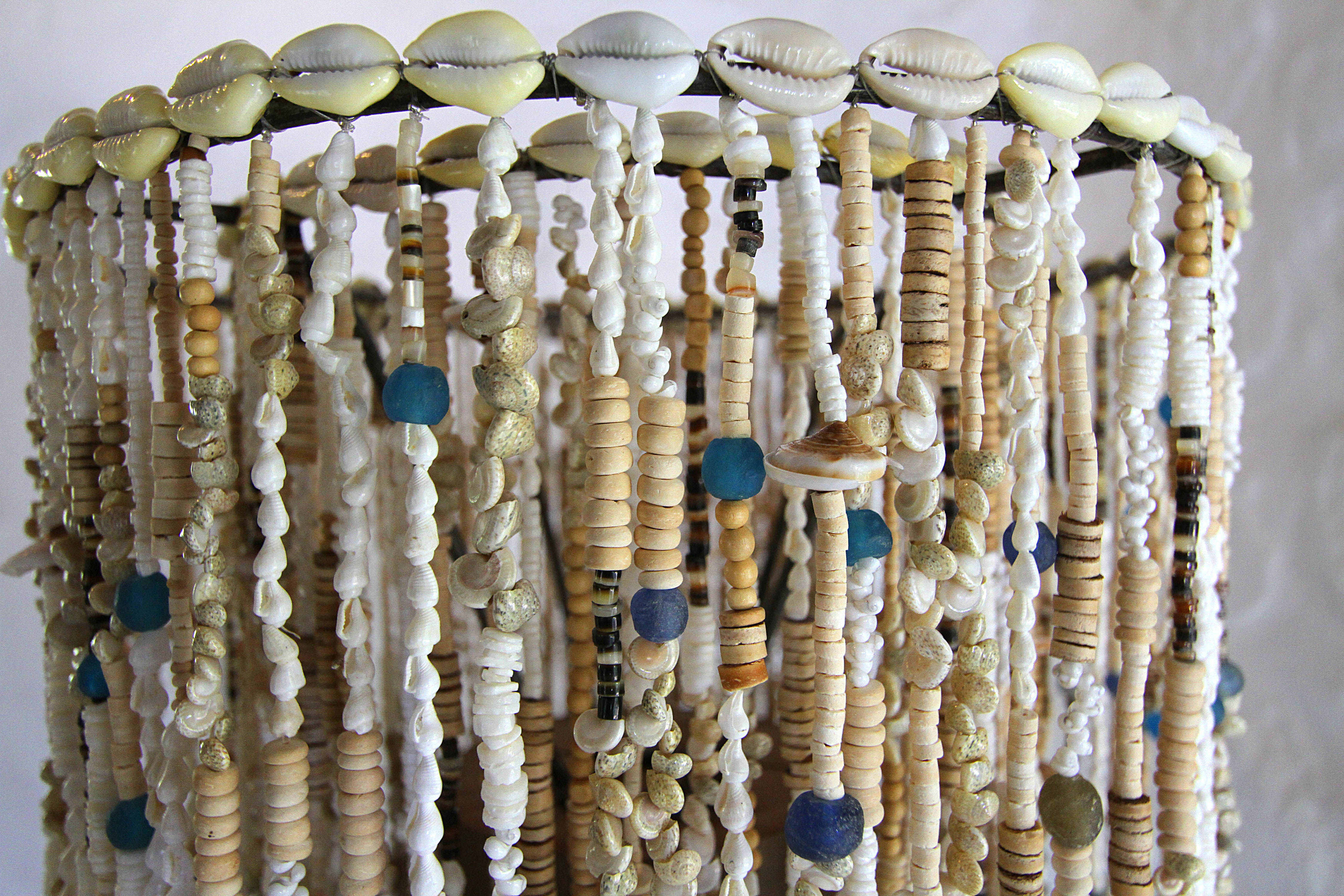 recycled glass beads and shells lampshade