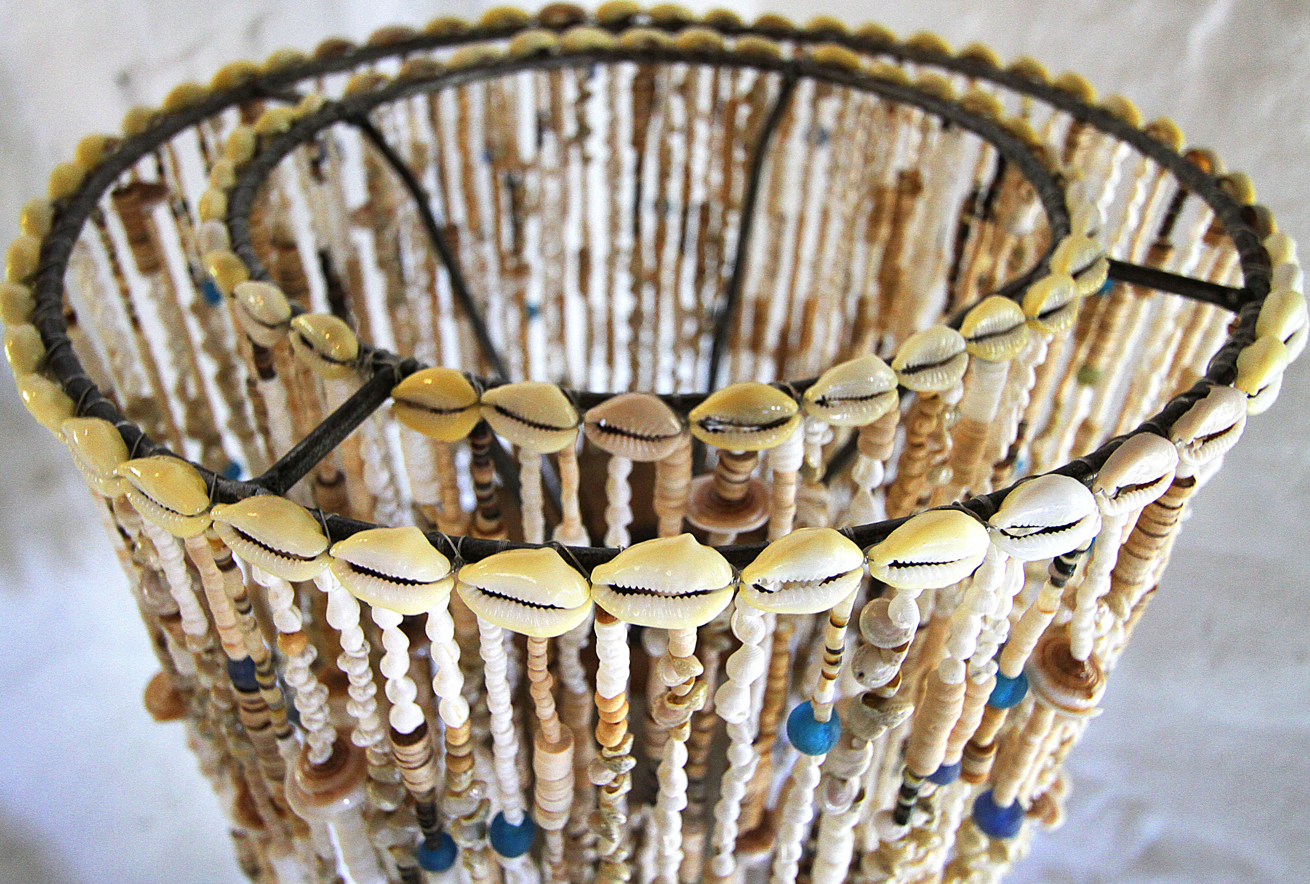 luxery lampshade recycled beads likoma island