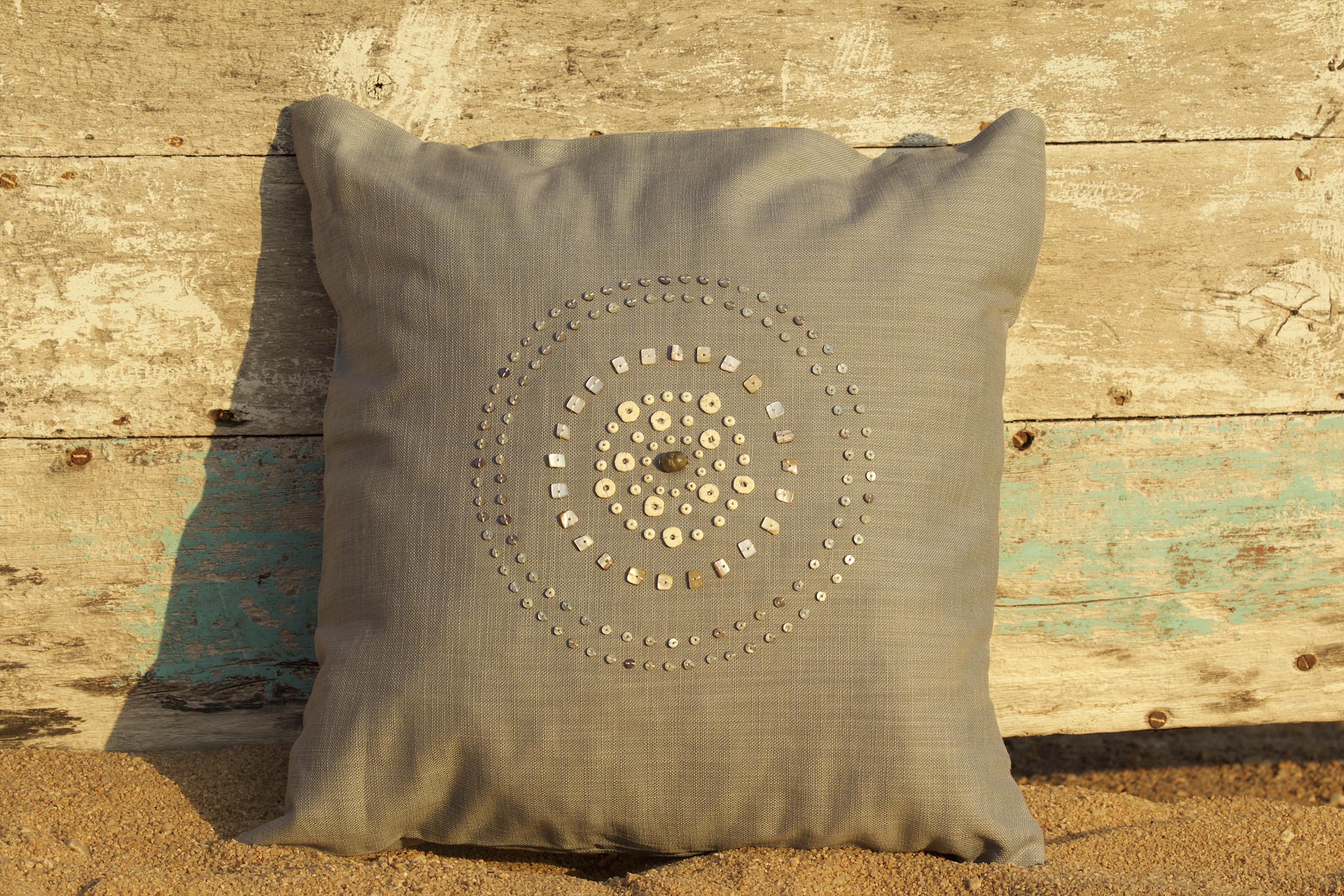 beaded cushion silver circle new blue