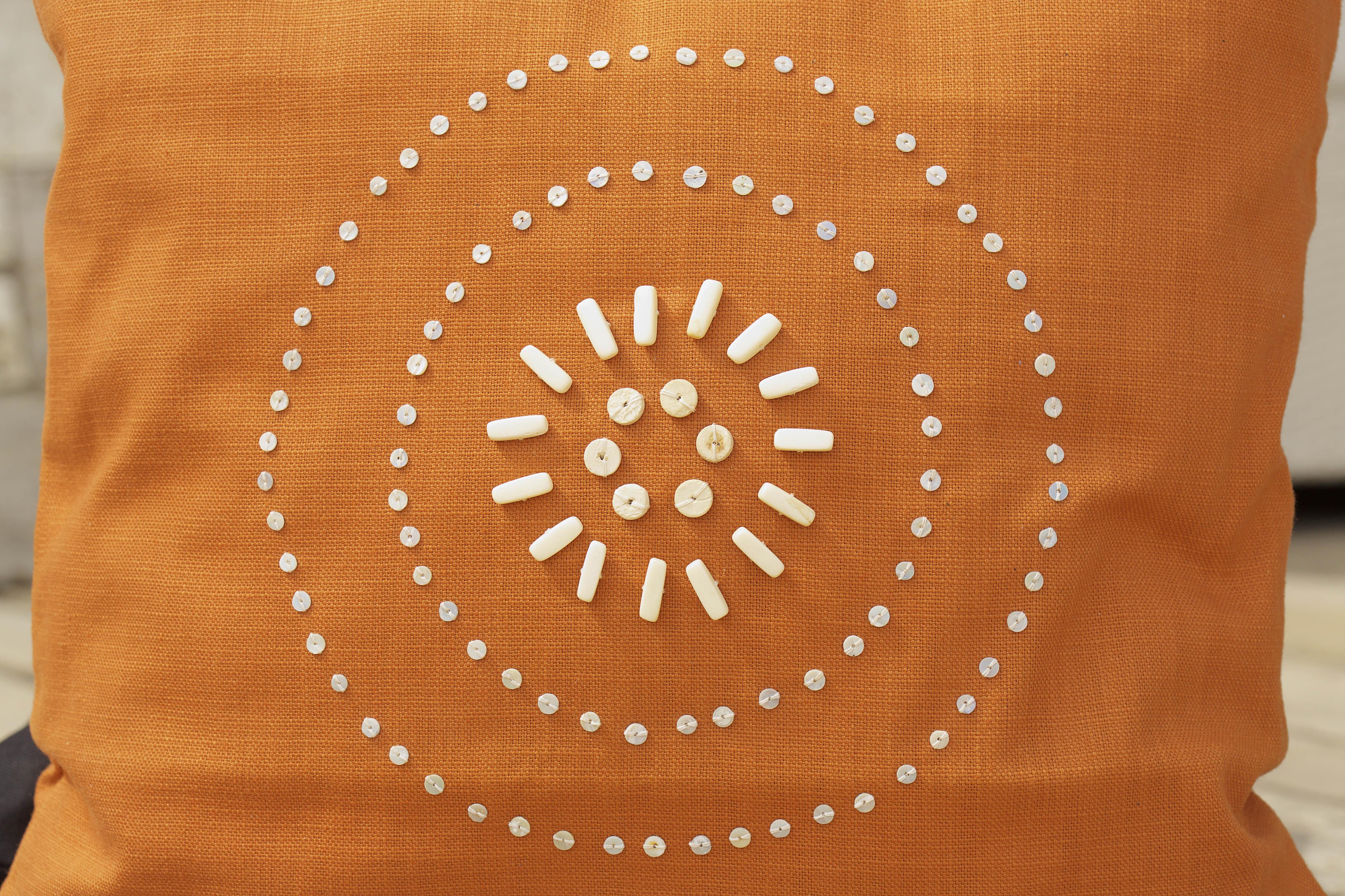 Beaded Cushion - Ngani Orange