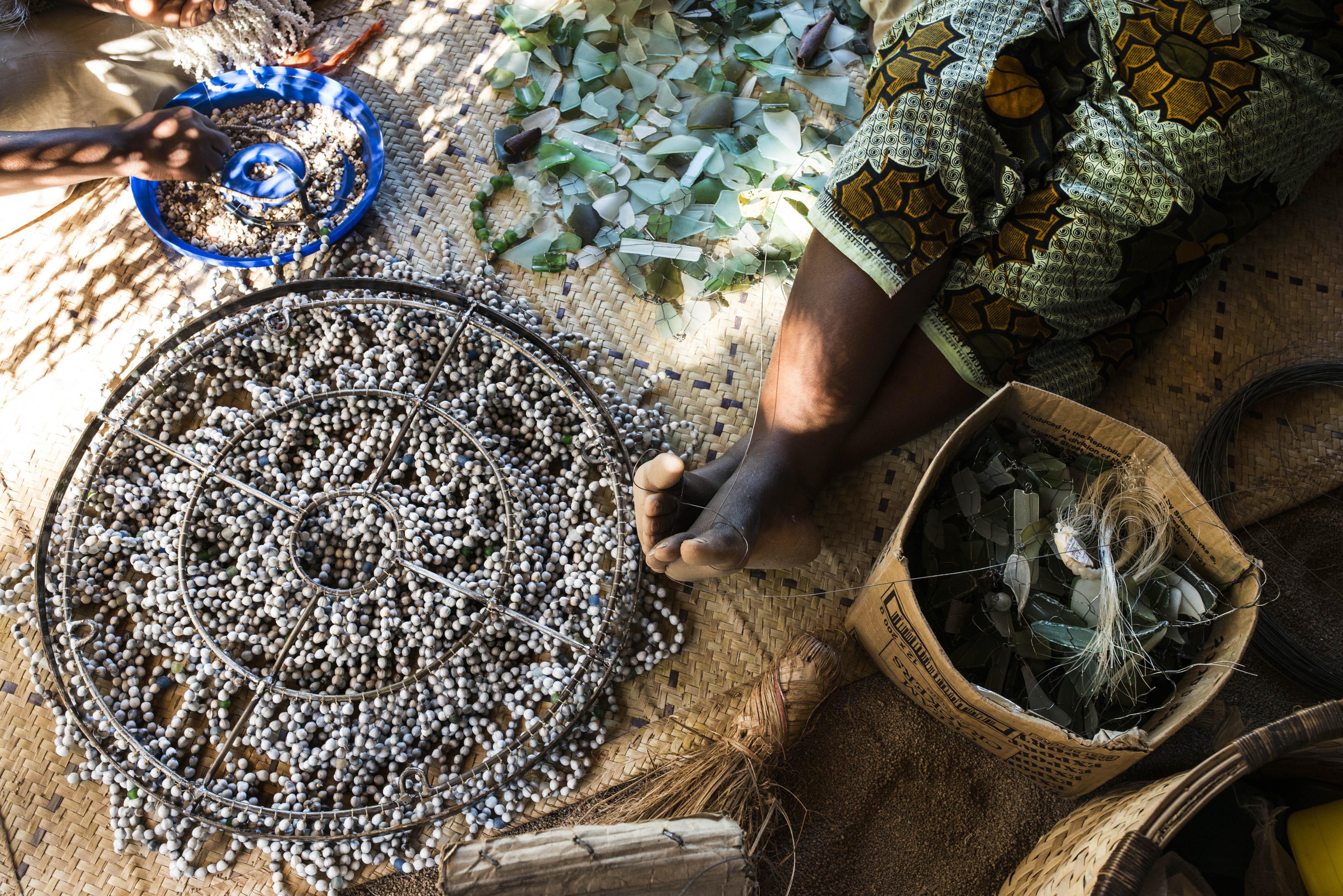 hand beading grey seeds workshop