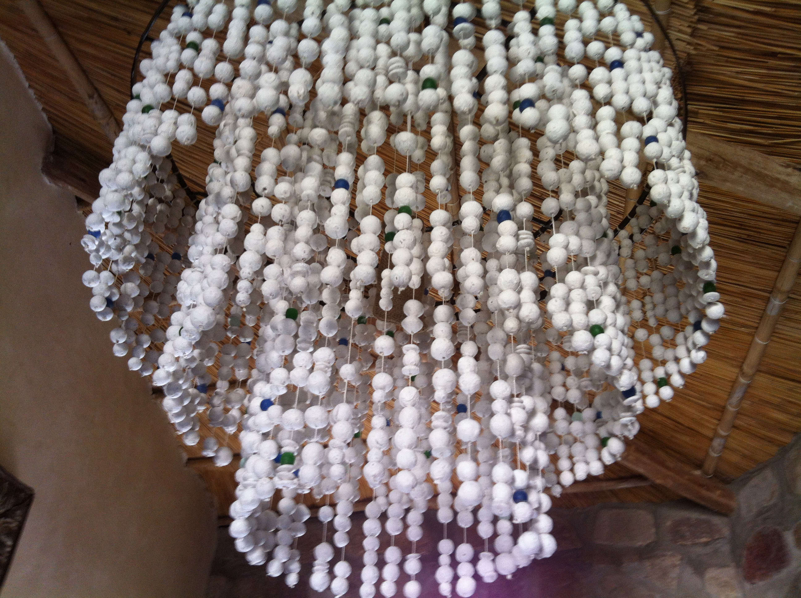 clay beads white handmade chandelier