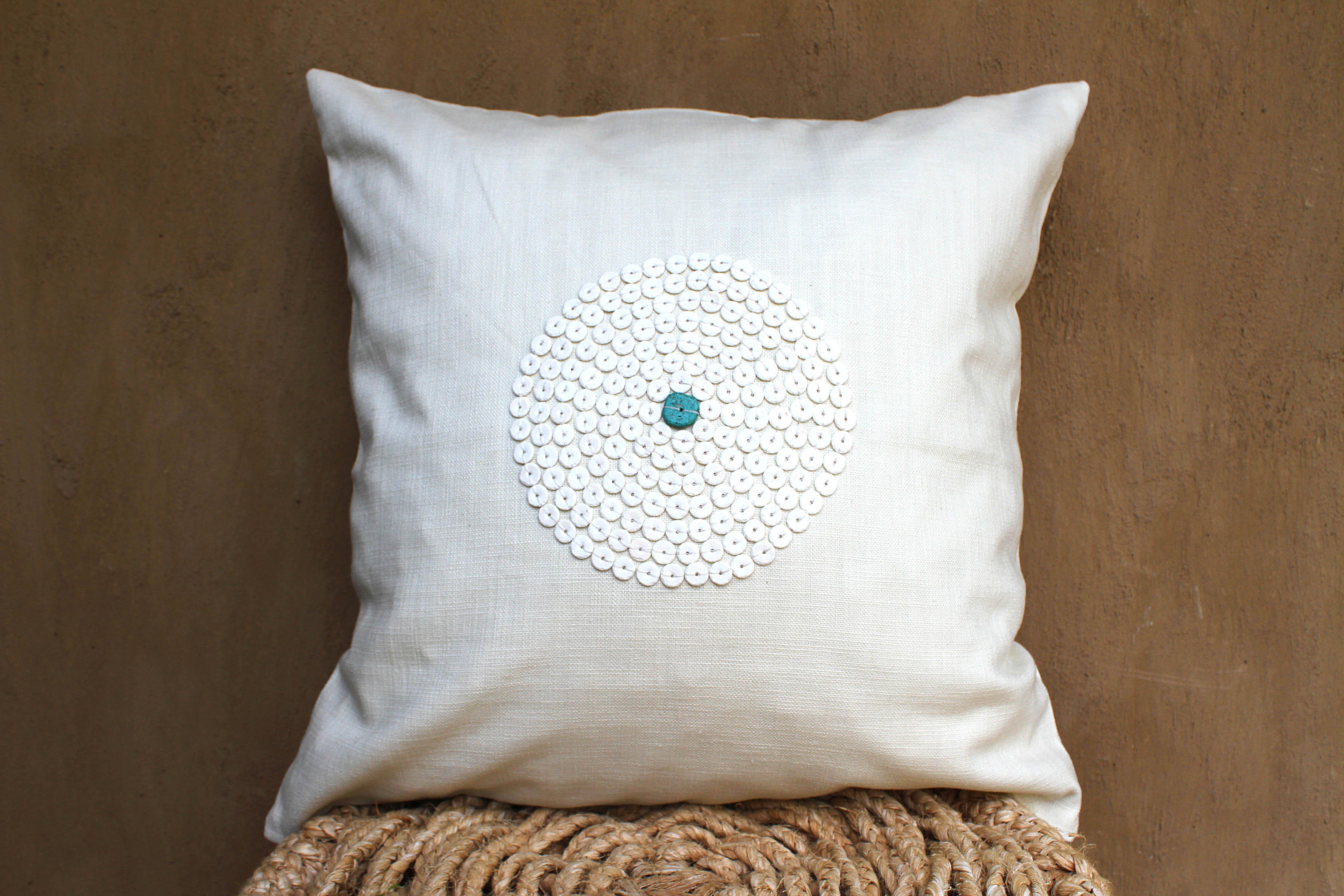 beaded cushion ostrich egg shell