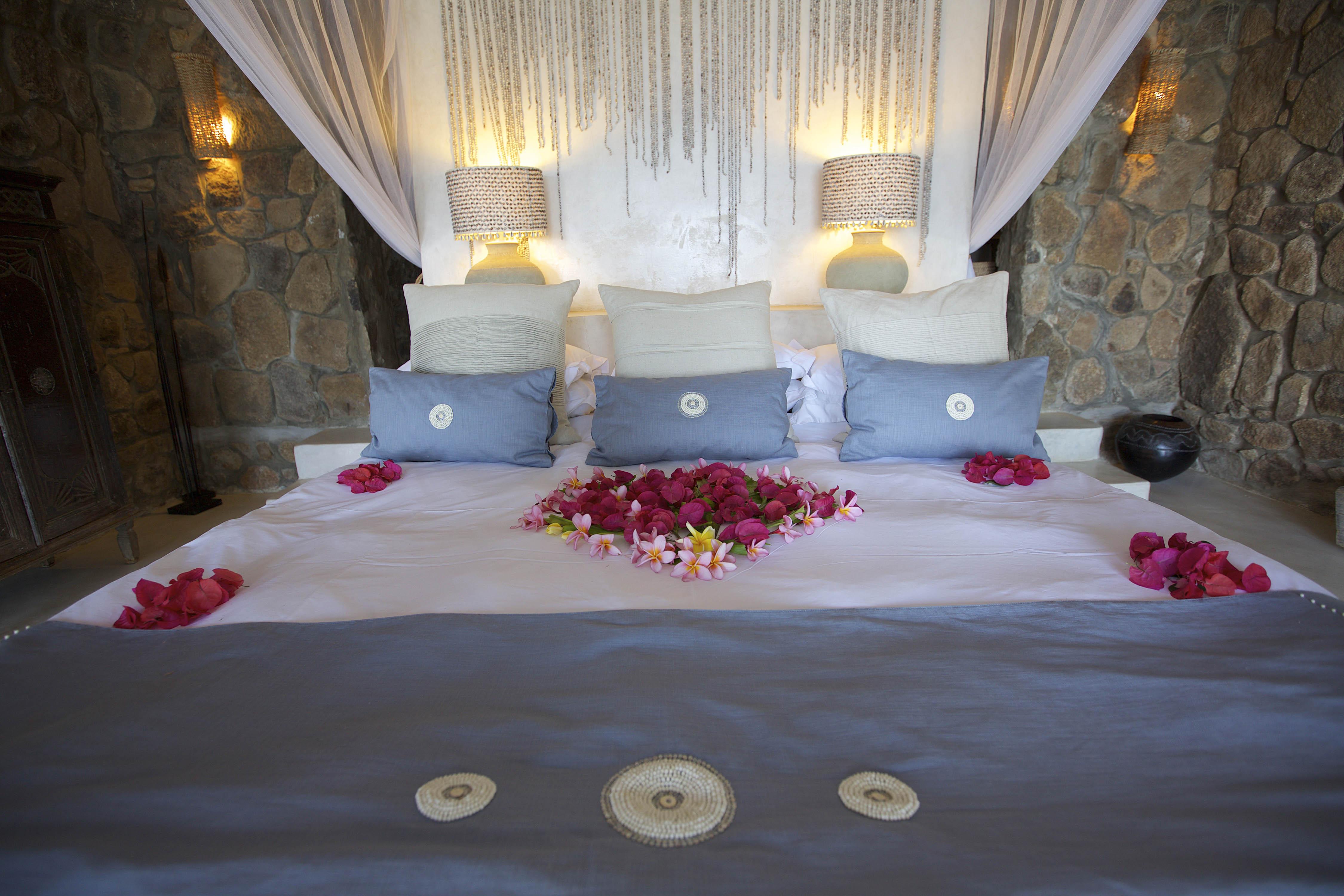 beaded bed throw - massai new blue