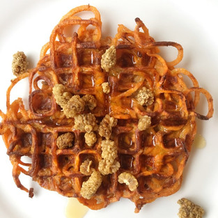 Paleo Spiralized Sweet Potato Waffles