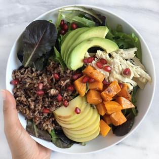 Harvest Nourish Bowl with Maple Tahini Dressing
