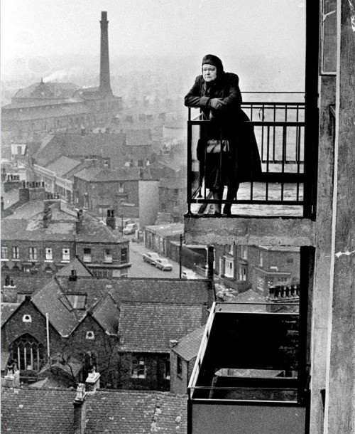 Overlooking Salford, 1968. Actress Violet Carson. Photograph by John C Madden.