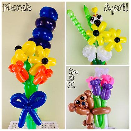 Seasonal Balloon Flower Bouquet Subscription
