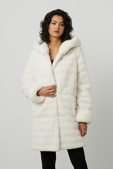 Joseph Ribkoff Reversible Faux Fur Hooded Coat
