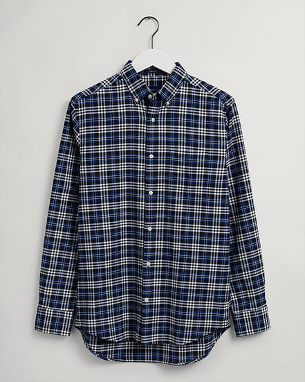 GANT Regular fit rutig borstad oxfordskjorta