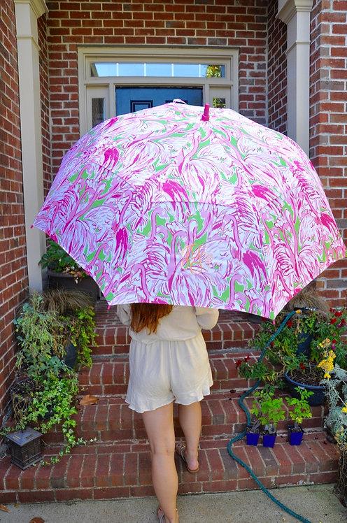 Monogrammed Lilly Pulitzer Golf  Umbrella-Pink Col