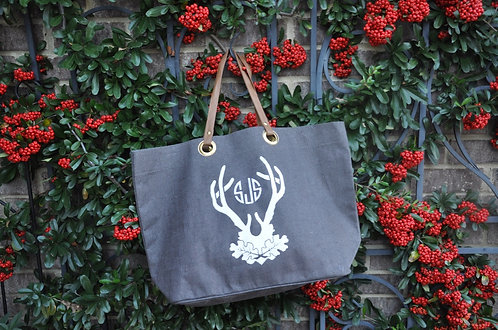 Brown Stag horn Jute Tote