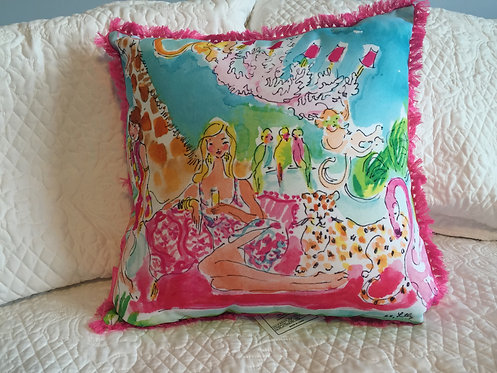 Large Indoor/Outdoor Pillow - Zoo Party 5x5