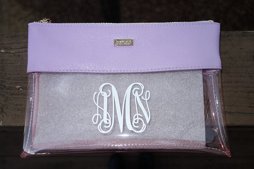 Monogrammed ban.do peekaboo clutch-Lilac + Blush