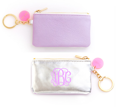 Monogrammed ban.do Zip Zip Keychain Pouch Lilac