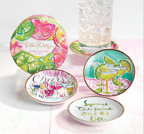 Lilly Pulitzer Ceramic Coaster Set Cheers!