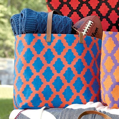 Monogrammed Game Day Geo Dot Tote Blue/Orange